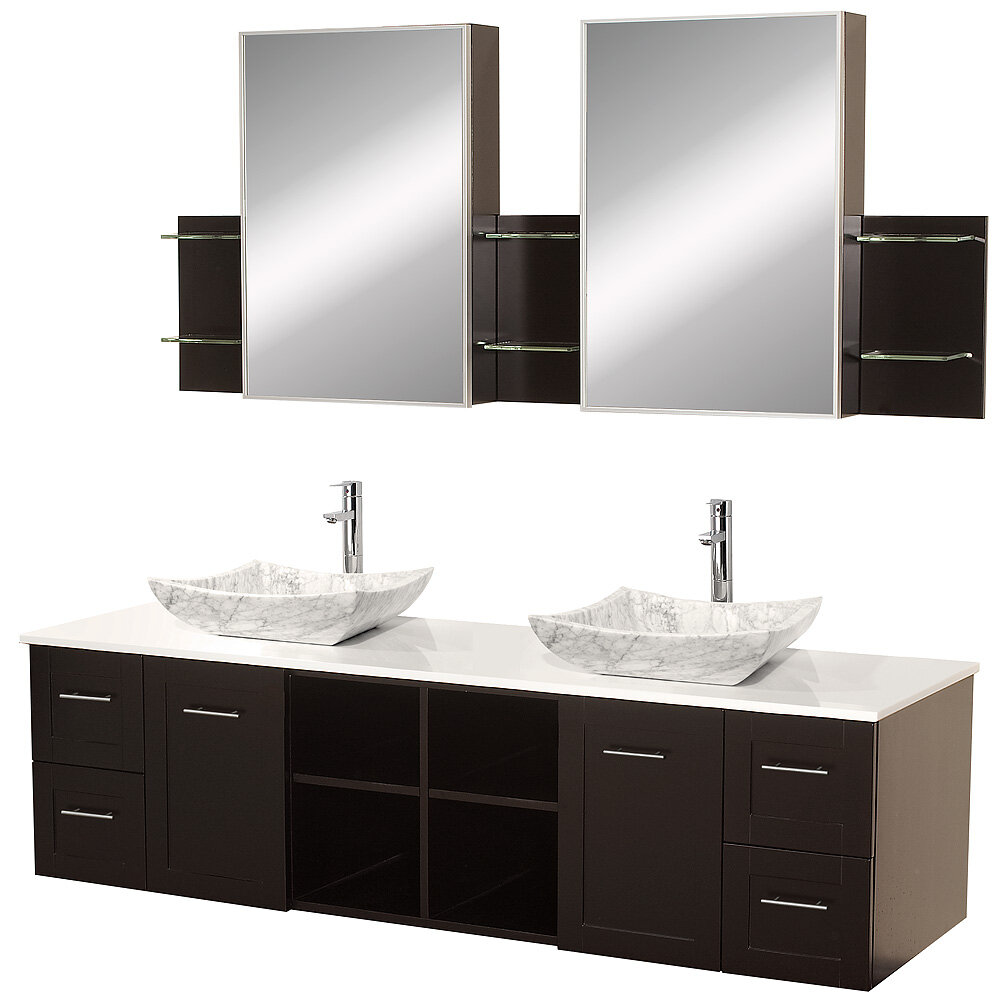 Wyndham Collection Avara 72 Double Espresso Bathroom Vanity Set