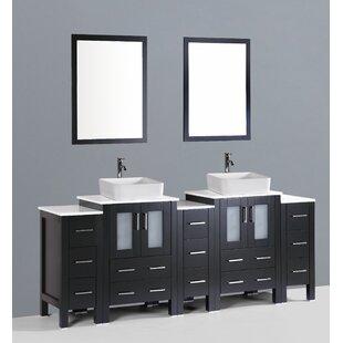 Netto 84 Double Bathroom Vanity Set with Mirror by Ebern Designs