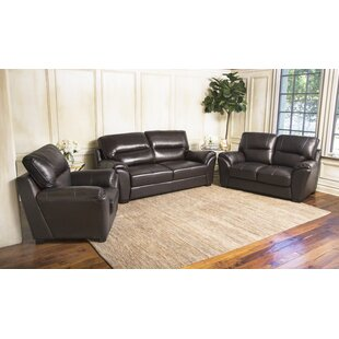 Darby Home Co Pennington Leather 3 Piece Living Room Set
