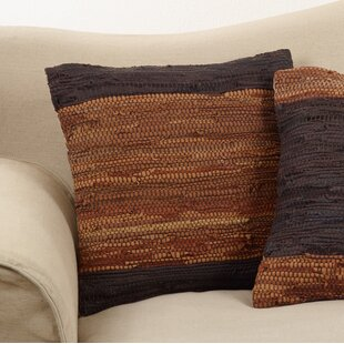 Guildford Chindi Cotton/Leather Throw Pillow