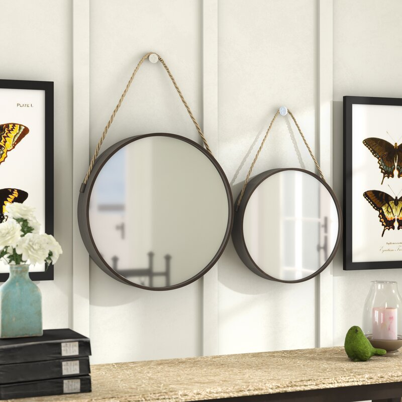 Laurel Foundry Modern Farmhouse Galvanized 2 Piece Metal Wall Mirror Set & Reviews | Wayfair