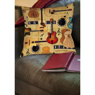 Guitar Collage Cream Printed Throw Pillow