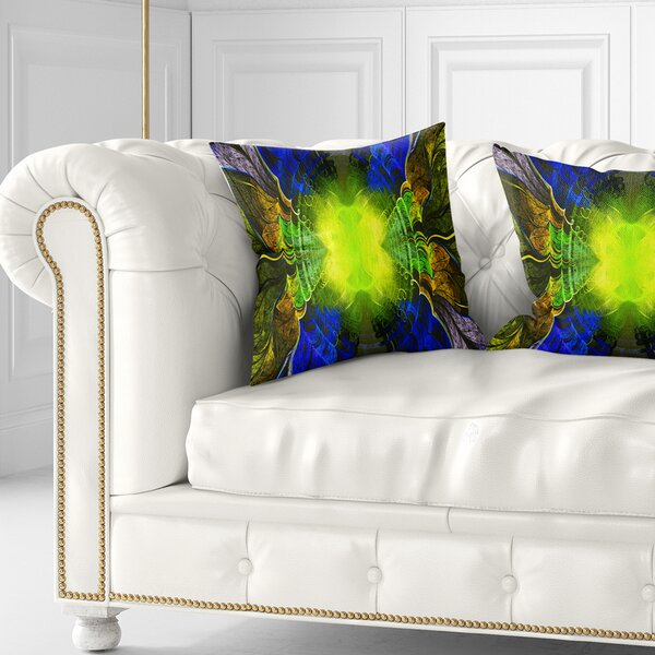 East Urban Home Abstract Fractal Stained Glass Pillow Wayfair