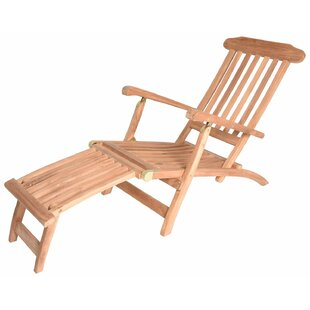 Highland Dunes Mirabel Reclining Steamer Teak Chaise Lounge