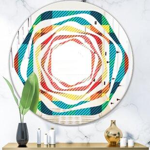 Whirl Tartan Geometrical Texture III Modern  Contemporary Frameless Wall Mirror by East Urban Home