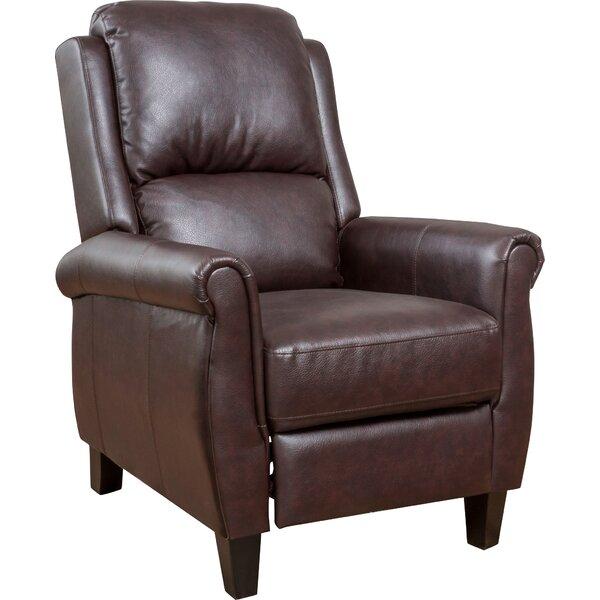 overstuffed leather club chair three posts lofton manual recliner reviews wayfair