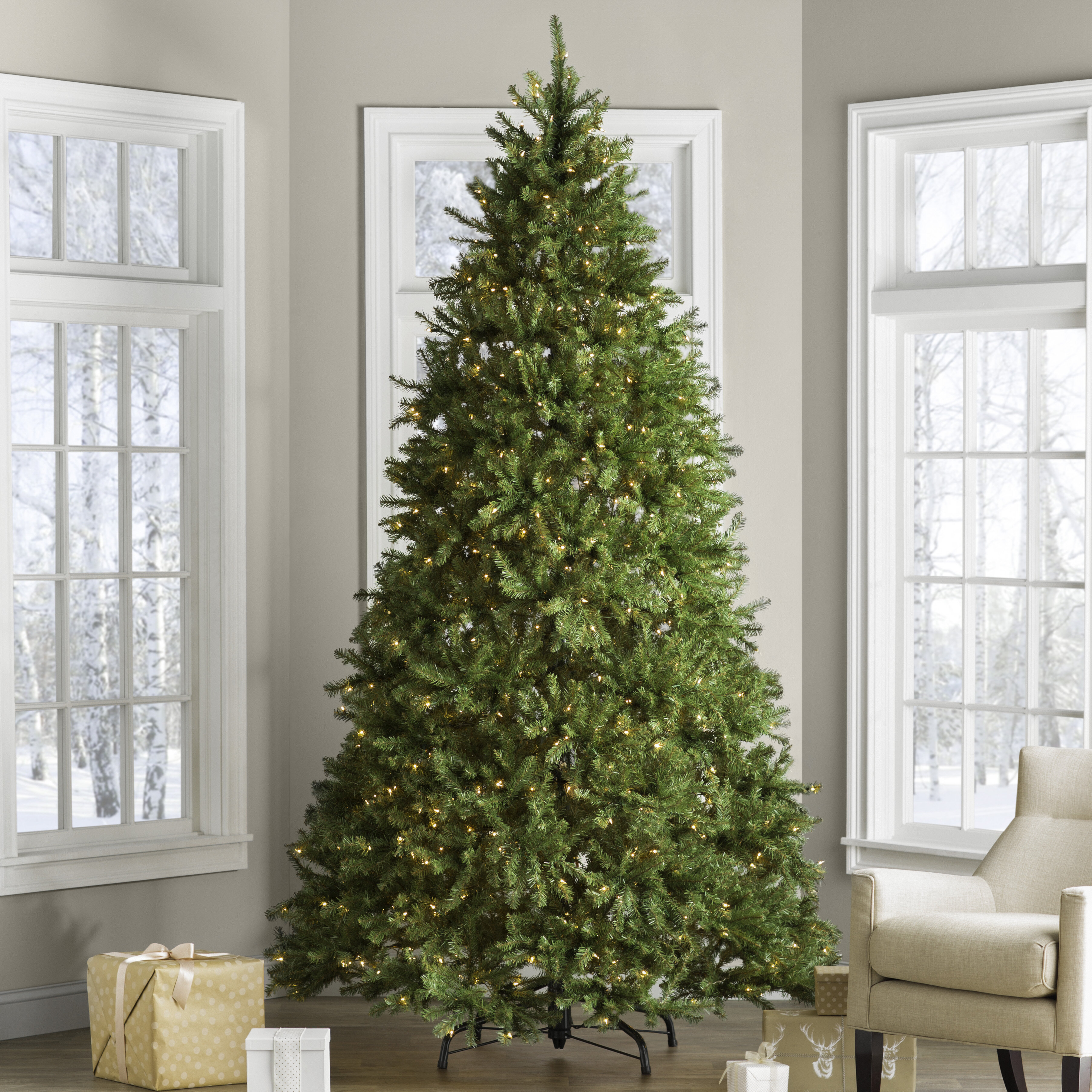 Hinged 9' Green Fir Artificial Christmas Tree with 900 Clear/White Lights & Reviews | Birch Lane
