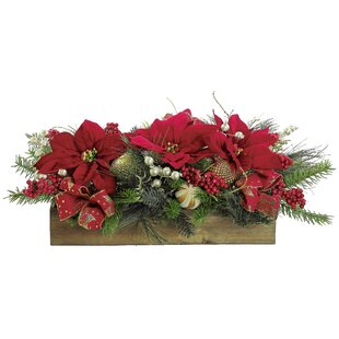 Holiday Ball Ornament Poinsettia Centerpiece