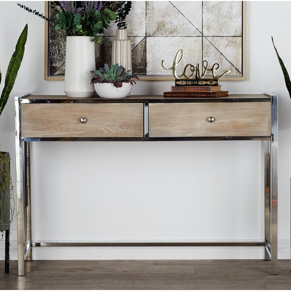 Cole & Grey Stainless Steel And Wood Console Table & Reviews by Cole & Grey