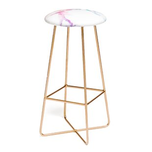 Emanuela Carratoni Iridescent Vein Marble 25 Bar Stool by East Urban Home