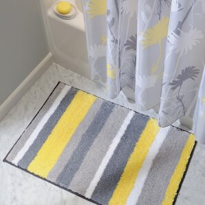 Marvelous Rain Microfiber Stripes Shower Accent Bath Rug