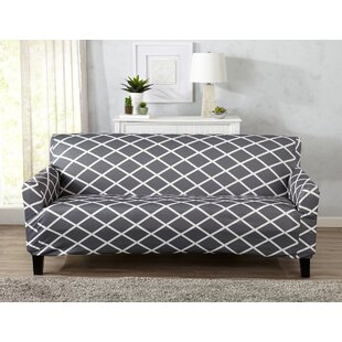 Winston Porter Form Fitting Stretch Diamond Printed T-cushion Sofa Slipcover