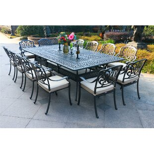 Barba Aluminum 13 Piece Sunbrella Dining Set with Sunbrella Cushions by Canora Grey