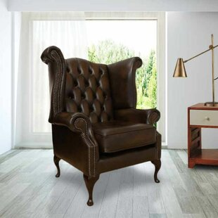 Sachiko Queen Anne Leather Wingback Chair By Williston Forge