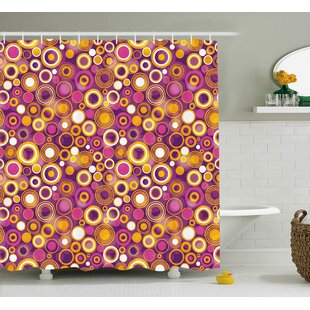 Angelina Geometric Retro 70S Like Vintage Circles and Rounds Water Drops Like Image Artwork Single Shower Curtain