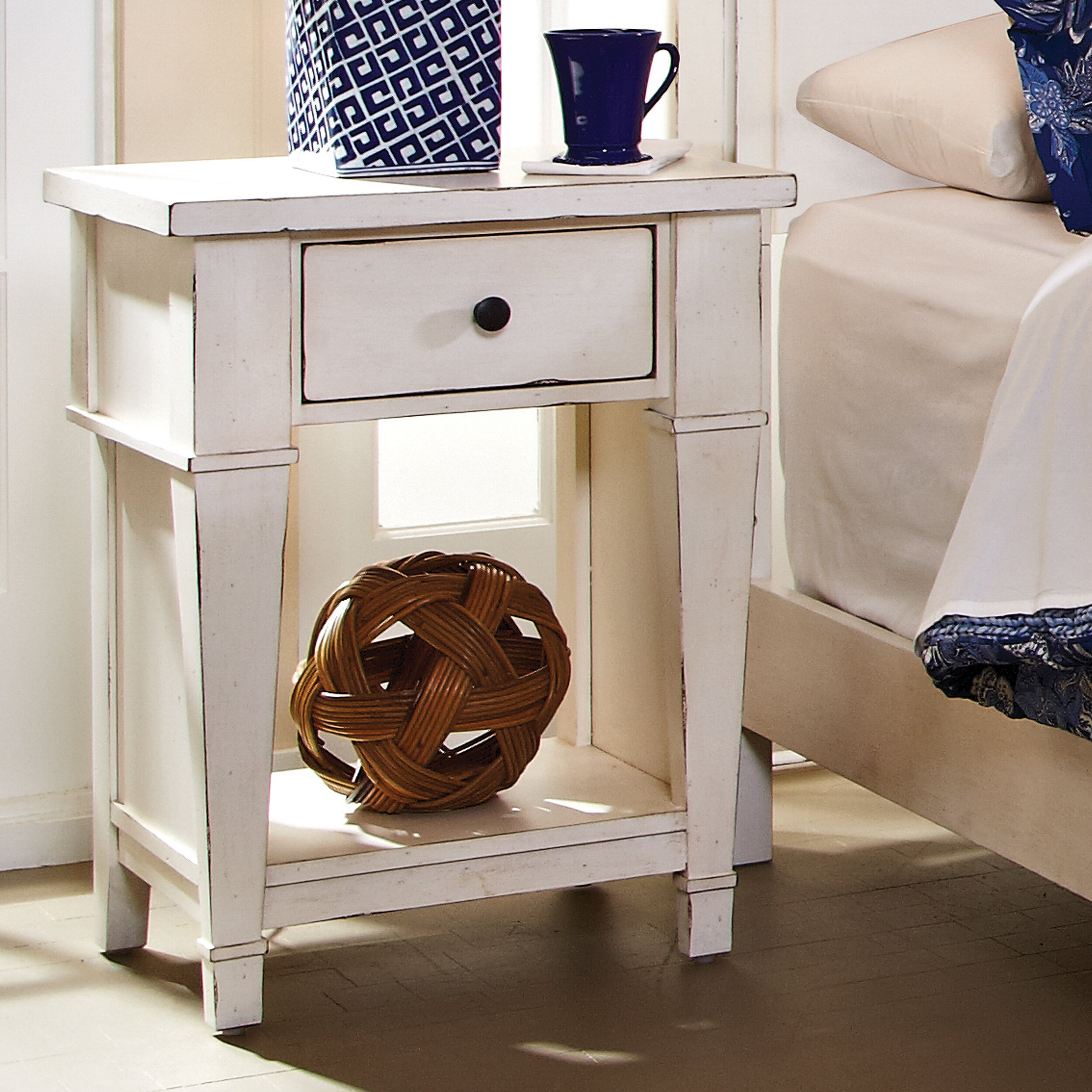 Beau Defelice French Wood 1 Drawer Nightstand