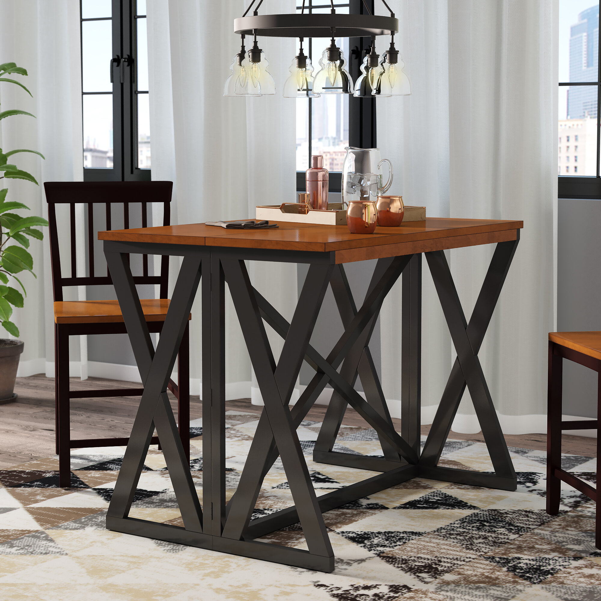 Union Rustic Tesch Expandable Solid Wood Dining Table ...