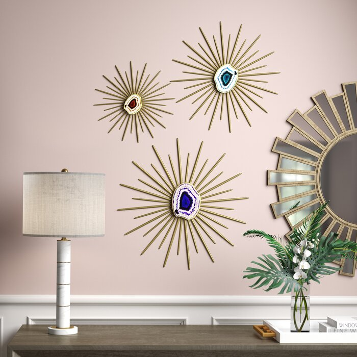 3 Piece Contemporary Metal Spiked Wall Décor Set