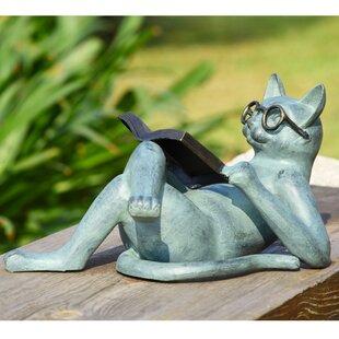 Literary Cat Garden Statue