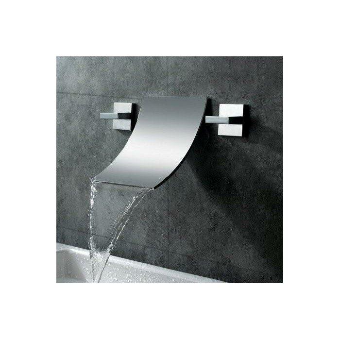 Sumerain Double Handle Wall Mount Waterfall Bathroom Sink Faucet ...