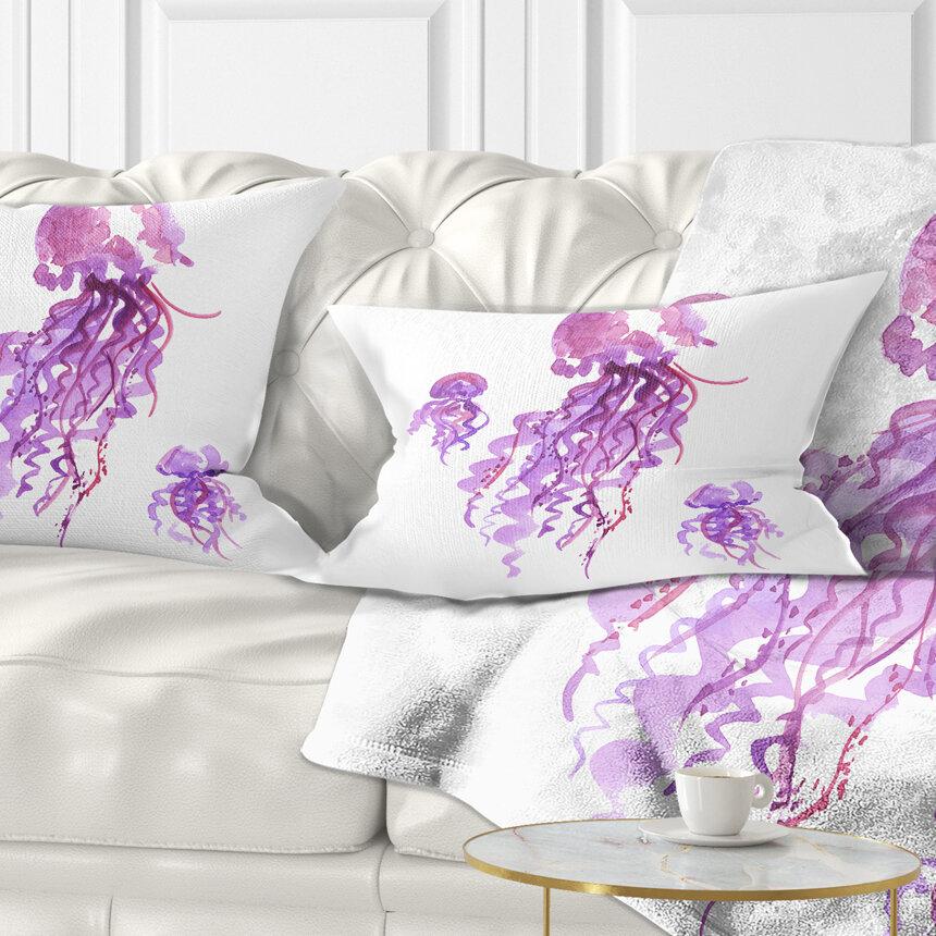 East Urban Home Abstract Jellyfish Watercolor Lumbar Pillow Wayfair