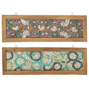 2 Piece Midnight And Midday Wooden Frame Mosaic Wall Décor Set