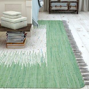 Zaira Hand-Woven Ivory/Sea Green Area Rug by Mercury Row