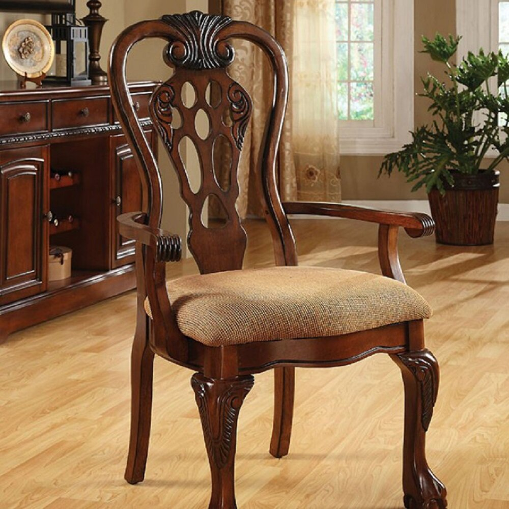Shop Queen Anne Desk Chair Set Free Shipping Today >> Signorelli Upholstered Solid Wood Queen Anne Back Arm Chair In Cherry