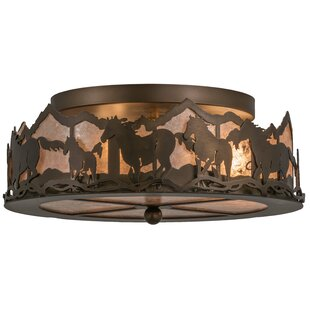 Meyda Tiffany Wild Horses 3-Light Flush Mount