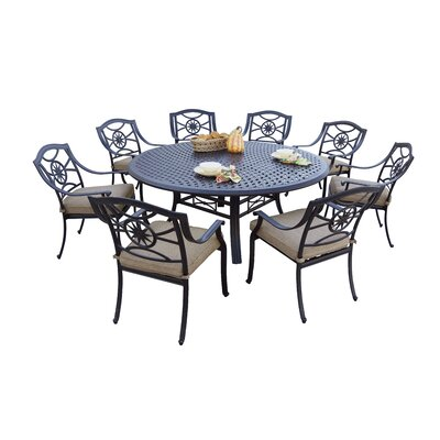 Thompsontown 9 Piece Dining Set With Cushions by Alcott Hill Spacial Price