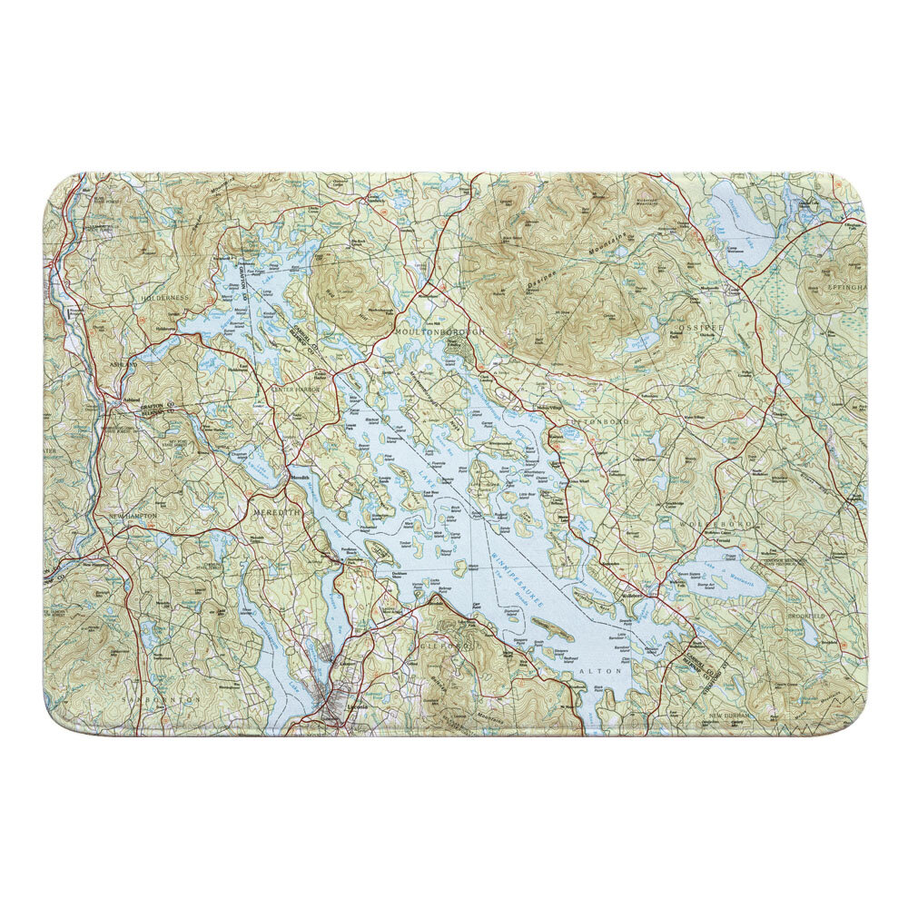 Breakwater Bay Nautical Chart Lake Winnipesaukee Nh Rectangle Memory Foam Non Slip Bath Rug Wayfair