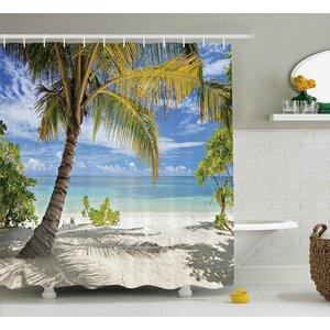 Aplin Palm Trees Coastline Shower Curtain
