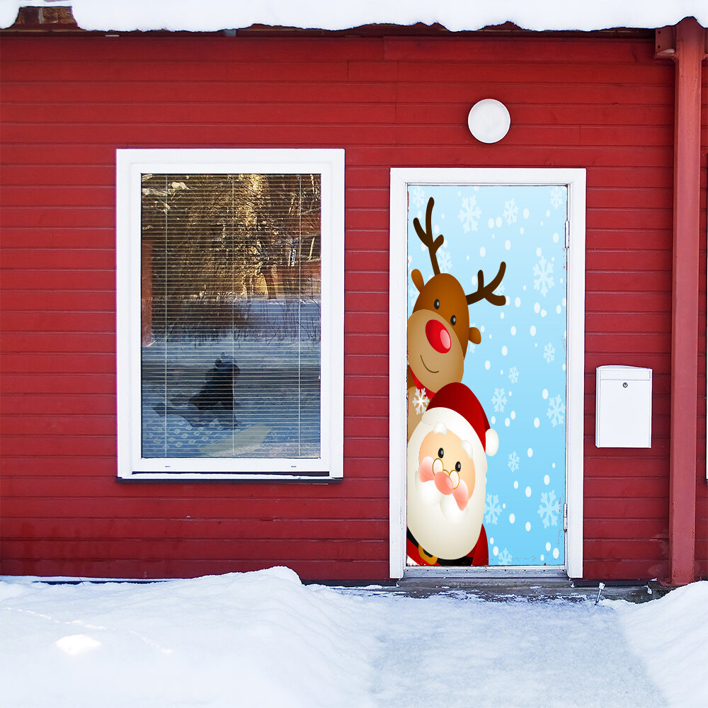 The Holiday Aisle Santa And Reindeer Door Mural Wayfair
