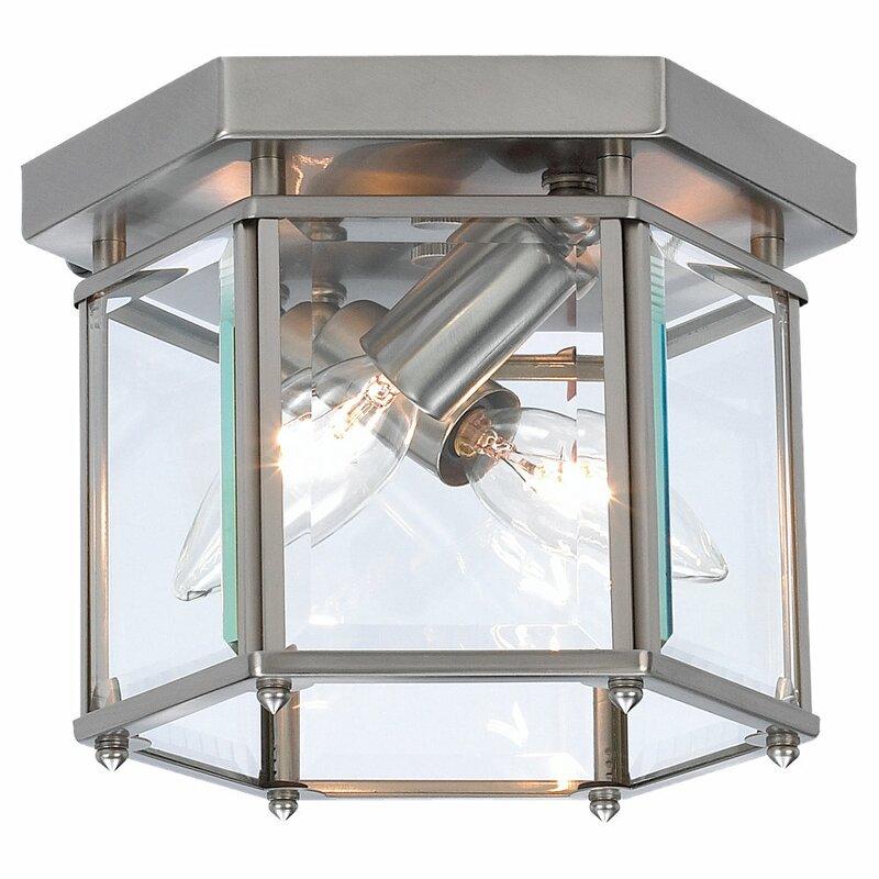 Charlton Home Pinecrest 2 Light 8 Lantern Square Flush Mount Reviews Wayfair