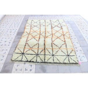 Beni Ourain Moroccan Hand Knotted Wool Cream/Yellow Area Rug