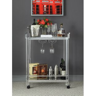 Erwin Metal and Acrylic Bar Cart by Rosdorf Park