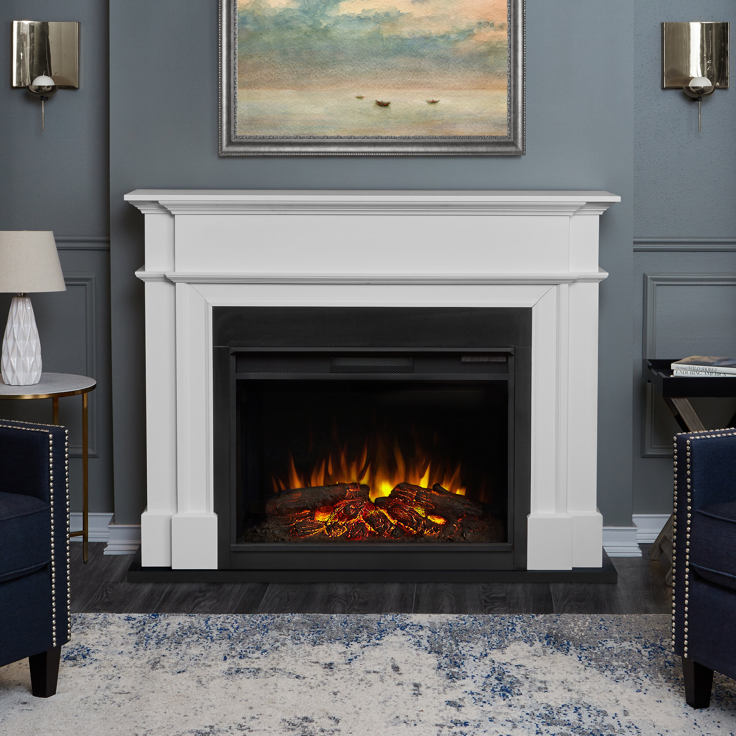 fireplace chestnut real large flame electric by grand free home callaway oak garden product shipping overstock today