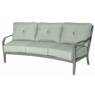 Red Barrel Studio Konevsky Aluminum Outdoor Curved 3 Seat Patio Sofa with Cushions