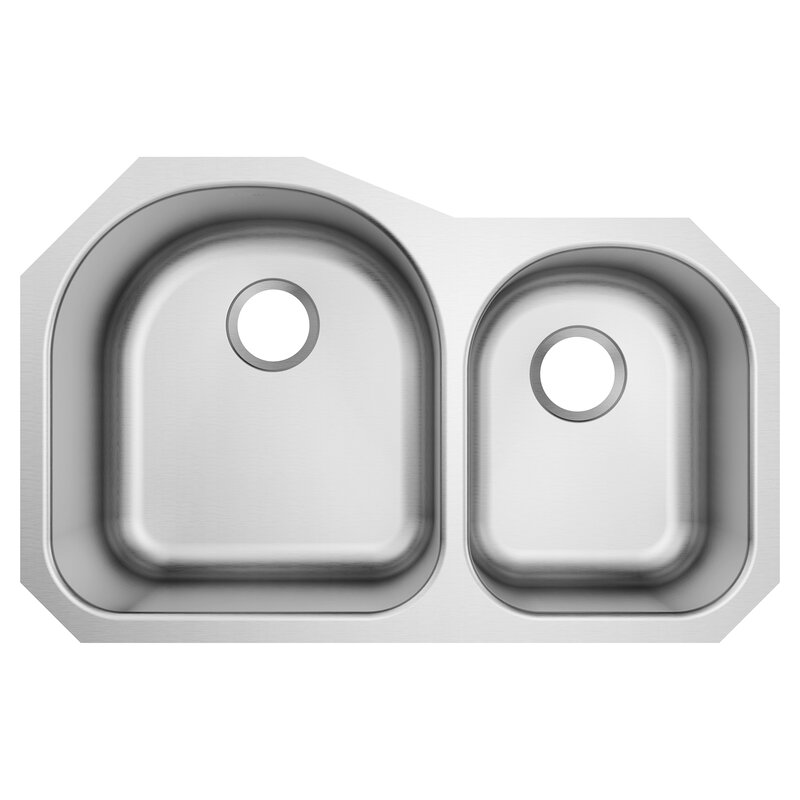 Moen 1800 Series 31.75 L x 18.25 W Undermount Double Bowl Stainless Steel Kitchen Sink