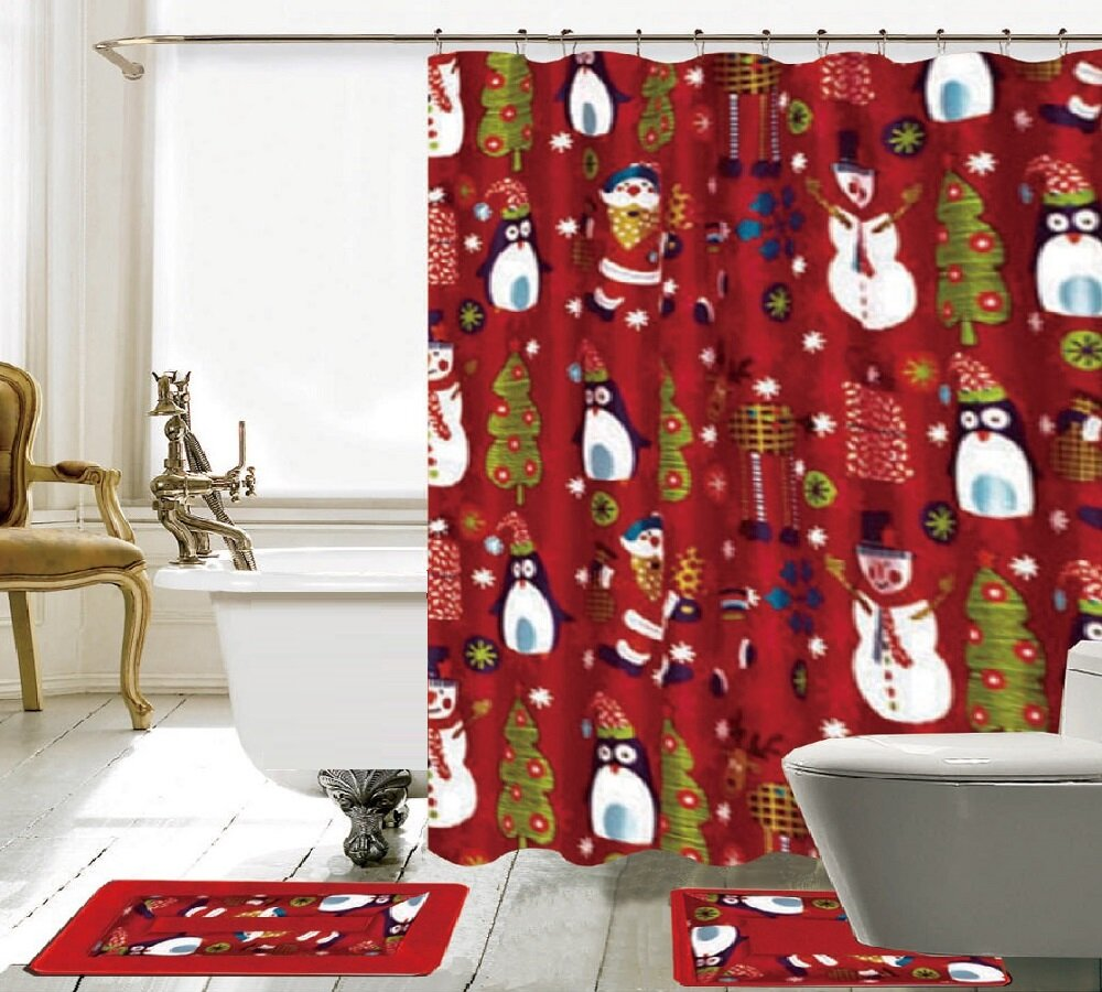 The Holiday Aisle 15 Piece Christmas Shower Curtain Set Reviews