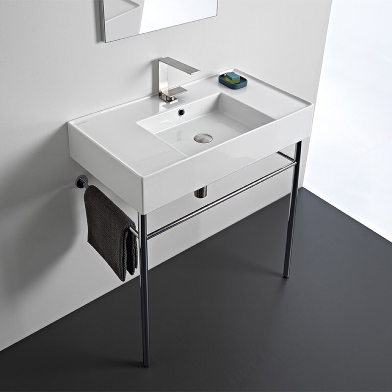 Scarabeo By Nameeks White Ceramic Rectangular Console Bathroom Sink With Overflow Wayfair