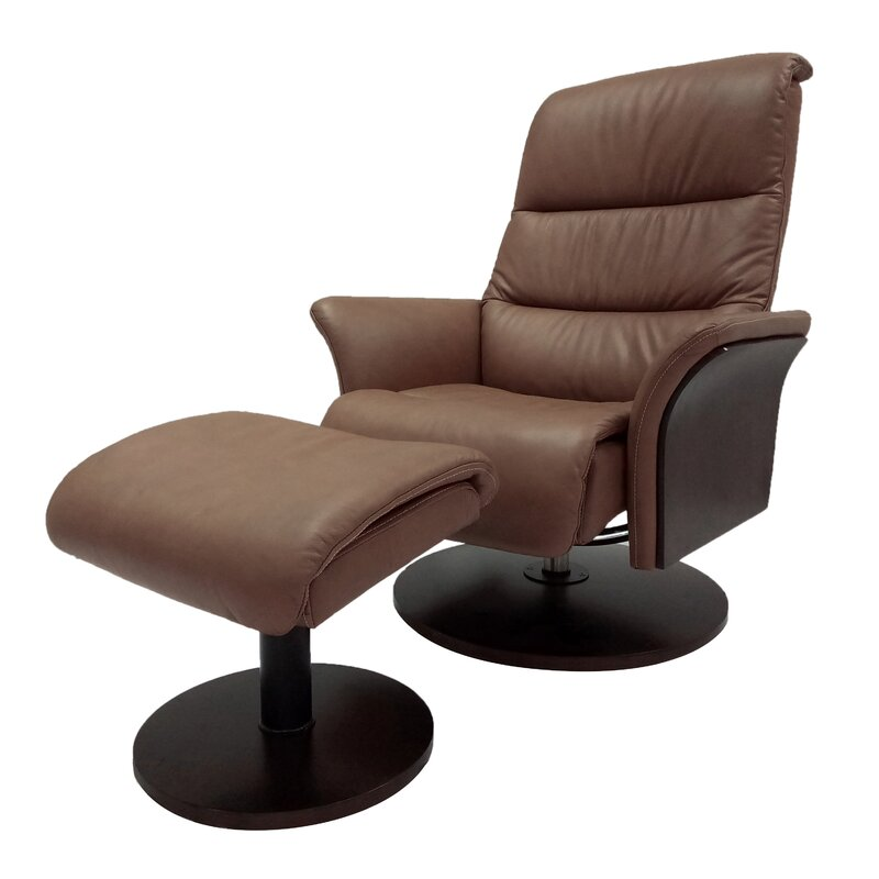 Perfect Charette Leather Manual Swivel Glider Recliner