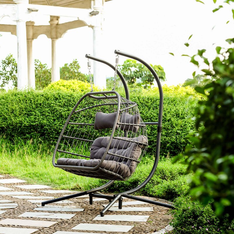 Z Joyee 2 Person X Large Double Swing Chair Wicker Hanging Egg Chair