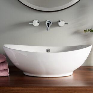 Inexpensive Brant Point Ceramic Specialty Vessel Bathroom Sink with Overflow By Nantucket Sinks