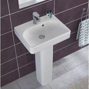 Reviews Smyle Ceramic 18 Pedestal Bathroom Sink with Overflow By Bissonnet