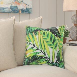 Skyler Tropical Palm Leaves 100% Cotton Throw Pillow