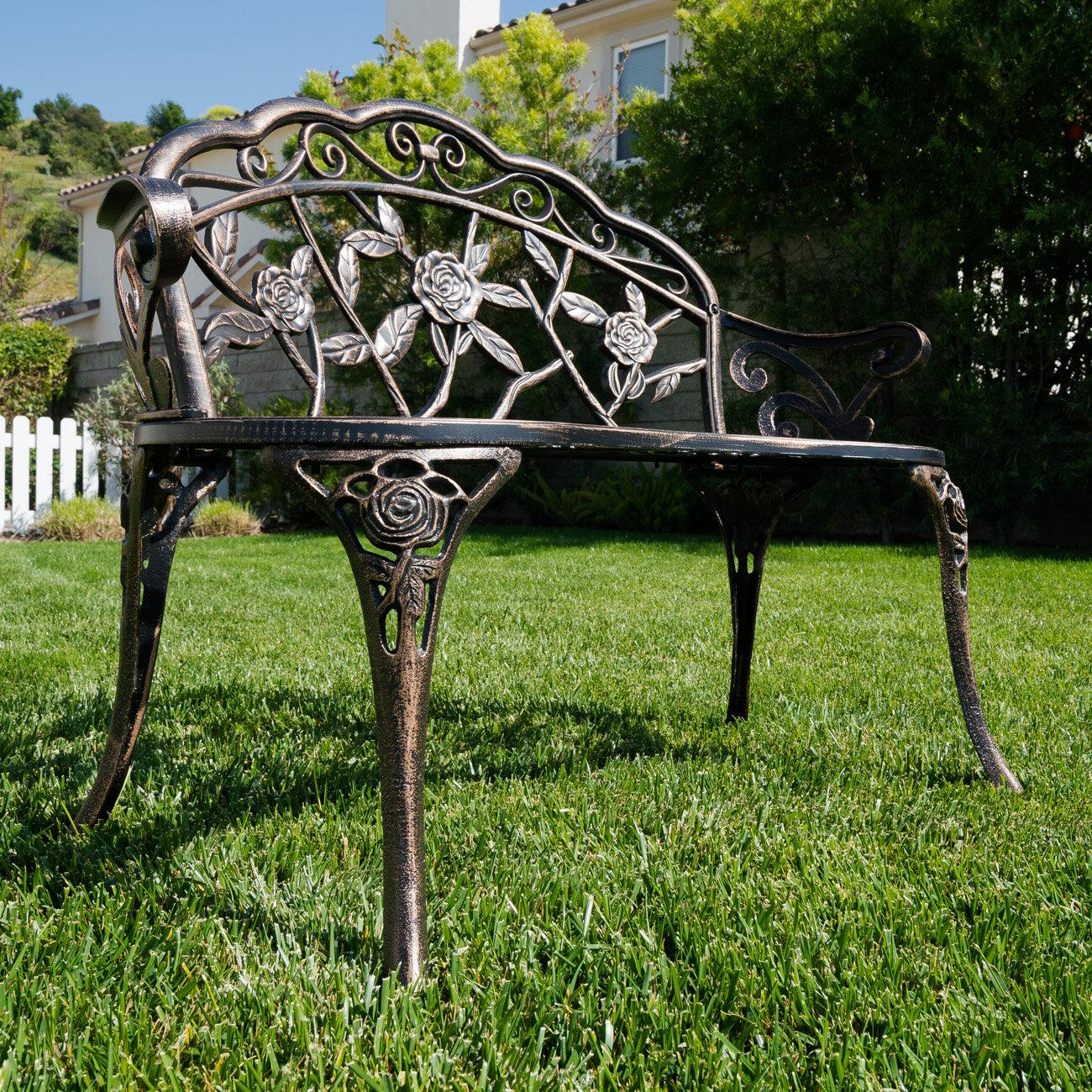 Larue Rose Iron Garden Bench