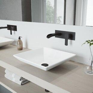 Best Deals Hibiscus Stone Square Vessel Bathroom Sink with Faucet By VIGO