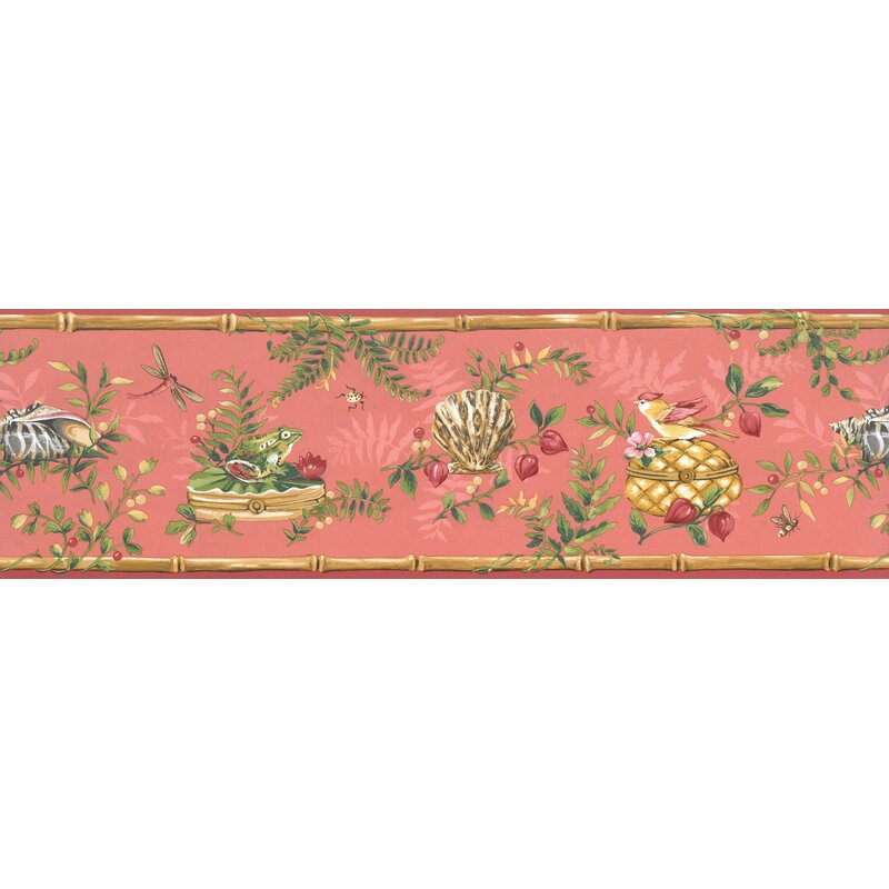 Cerulean Blue Flowers Bumble Bee Dragonfly Merigold Orange Wallpaper Border Retro Design Roll 15 x 9