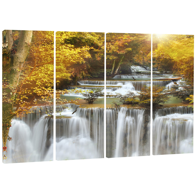 Designart Autumn Huai Mae Khamin Waterfall 4 Piece Photographic Print On Wrapped Canvas Set Wayfair